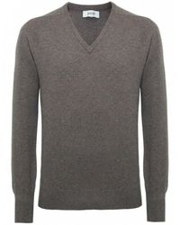 Jules B - Brown V-neck Lambswool Sweater for Men - Lyst