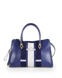 Tod's | Blue Alo Medium Striped Shopper Satchel | Lyst