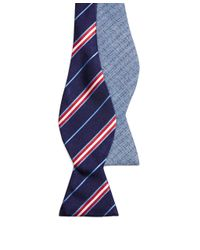 Brooks Brothers - Blue Framed Split Stripe And Anchor Reversible Bow Tie for Men - Lyst