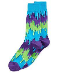 Hot Sox | Purple Dripping Paint Crew Socks for Men | Lyst