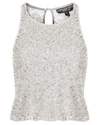 TOPSHOP - Metallic Petite All Over Sequin Shell Top - Lyst
