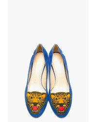 Charlotte Olympia | Blue Suede Mascot Heeled Loafers | Lyst