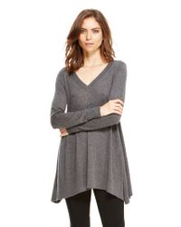 DKNY - Gray Trapeze Pullover With Rib Trim - Lyst