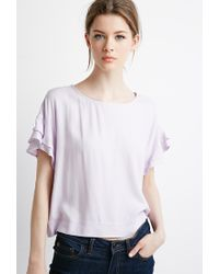 Forever 21 | Purple Contemporary Ruffled Sleeve Boxy Top | Lyst