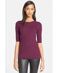 VINCE | Purple Skinny Ribbed Crewneck Pullover | Lyst