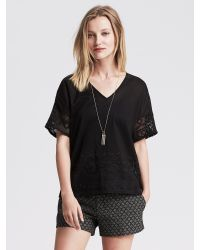 Banana Republic | Black Embroidered-back Top | Lyst