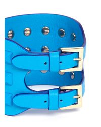 Valentino | Blue 'rockstud' Wide Leather Bracelet | Lyst