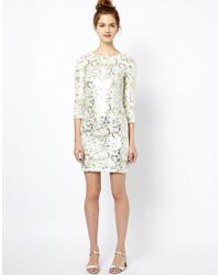 French Connection - White Dress in Animal Wave Sequin - Lyst