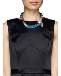 Venna - Multicolor Crystal Pavé Tiger Spike Crystal Necklace - Lyst