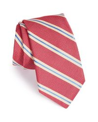 Ike Behar | Red 'pick Stitch' Stripe Silk Tie for Men | Lyst