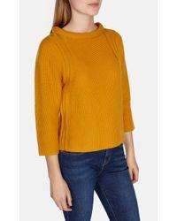 Karen Millen | Yellow Stand Up Collar Wool Jumper | Lyst