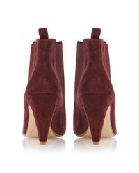 Dune | Red Olivv Suede Pointed Toe Ankle Boot | Lyst
