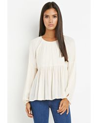 Forever 21 | White Peasant Blouse | Lyst