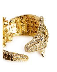 Kenneth Jay Lane | Metallic Crystal Pavé Strass Crocodile Bangle | Lyst
