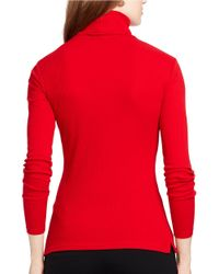 Lauren by Ralph Lauren | Red Ribbed Turtleneck Sweater | Lyst