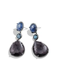 David Yurman | Purple Ultramarine Triple-drop Earrings With Black Orchid And Hampton Blue Topaz | Lyst