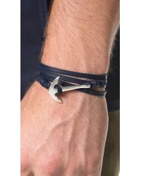Miansai - Metallic Anchor Leather Wrap Bracelet for Men - Lyst