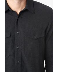 7 For All Mankind - Gray Long Sleeve Double Patch Pocket Shirt In Charcoal for Men - Lyst