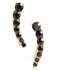 kate spade new york | Black 'dainty Sparklers' Ear Crawlers - Jet | Lyst
