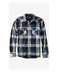 Express | Blue Flannel Check Plaid Shirt for Men | Lyst