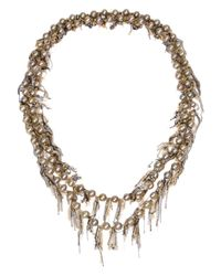 Samira 13 | Metallic Draped Chain And Pearl Necklace | Lyst