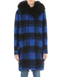 Mr & Mrs Italy | Blue Shearling-trimmed Checked Cotton-blend Parka Coat | Lyst