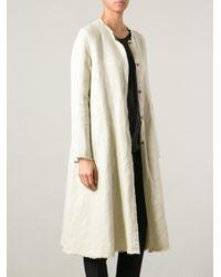 Hache - Natural Raw Cut Overcoat - Lyst