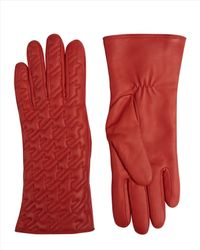 Jaeger - Red Quilted Houndstooth Gloves - Lyst