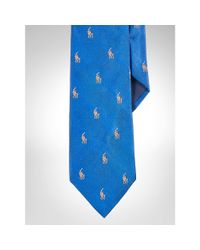 Polo Ralph Lauren - Blue Embroidered Pony Silk Tie for Men - Lyst