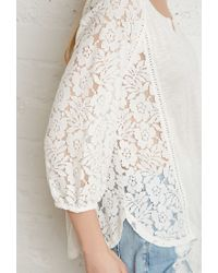 Forever 21 | Natural Floral Lace-paneled Peasant Blouse | Lyst