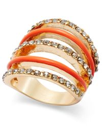INC International Concepts | Pink Gold-Tone Crystal Pavé And Enamel Dome Ring | Lyst