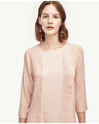 Ann Taylor | Pink Pleated Mixed Media Top | Lyst
