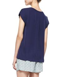 Joie - Blue Mayenne Cap-sleeve Silk Blouse - Lyst