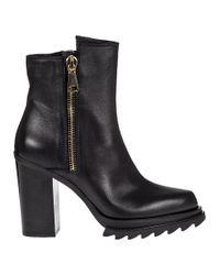 275 Central | Block Heel Ankle Boot Black Leather | Lyst
