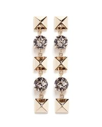 Valentino | Metallic Crystal Rockstud Drop Earrings | Lyst