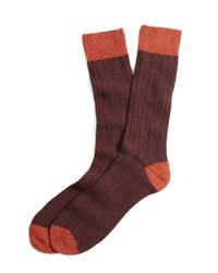 Brooks Brothers - Orange Donegal Tweed Cable Socks for Men - Lyst