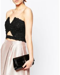 Lotus - Black Clutch Bag With Bow - Lyst