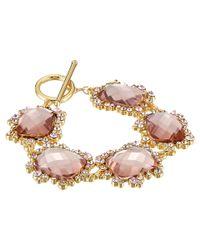 "Lauren by Ralph Lauren | Pink Pretty In Pearls 7 1/2"" Faceted Stone W/ Small Cluster Stones Flex W/ Ring & Toggle Bracelet 