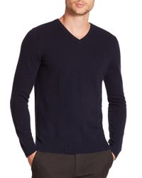 VINCE | Blue Cashmere V-neck Sweater for Men | Lyst