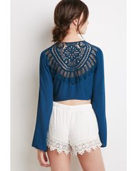 Forever 21 | Blue Crochet-paneled Knotted Front Top | Lyst