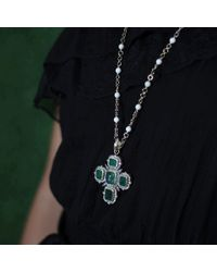 Sylva & Cie | Green Emerald Cross Pendant | Lyst