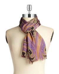 Lauren by Ralph Lauren | Purple Silk Scarf | Lyst