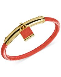 Michael Kors | Orange Gold-Tone Leather Padlock Bangle Bracelet | Lyst