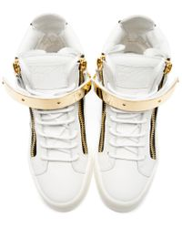 Giuseppe Zanotti | White Leather Maylon High_top Sneakers | Lyst