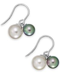 Majorica | Metallic Sterling Silver Organic Man-Made Gray Pearl Drop Earrings (7-9Mm) | Lyst