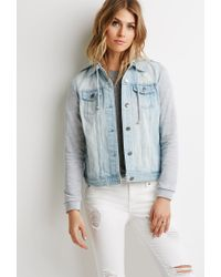 Forever 21 - Blue Contemporary Life In Progress Hooded Denim Jacket - Lyst