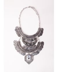 Missguided | Metallic Three Layered Tribal Coin Necklace Silver | Lyst