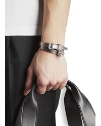 Alexander McQueen | Metallic Skull Embellished Leather Wrap Bracelet for Men | Lyst