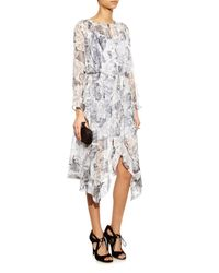 Zimmermann - Gray Seer Floral-Print Silk Dress - Lyst