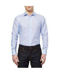 Etro | Blue Slimfit Paisleypatterned Cotton Shirt for Men | Lyst